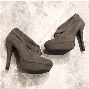 Mossimo high heel platform taupe ankle booties